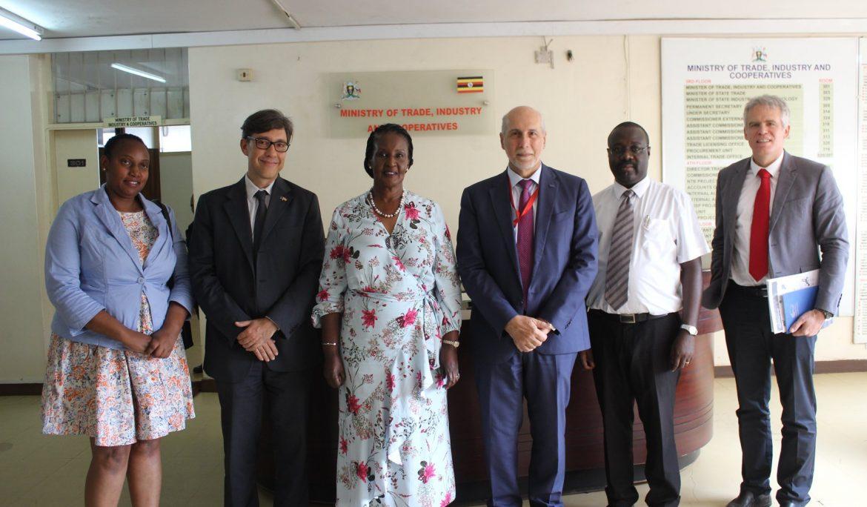Hon. Minister Amelia Kyambadde meeting with the EU Ambassador to Uganda Mr. Attilio Pacifici