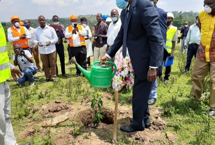 State Minister for Trade,Hon Michael Werikhe Kafabusa launches the construction of  the central market at Lwakhakha Border Export Zone