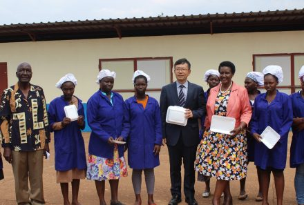 Hon Amelia Kyambadde, Minister of Trade, Industry, and Cooperatives commissioned the Hwan Sung factory