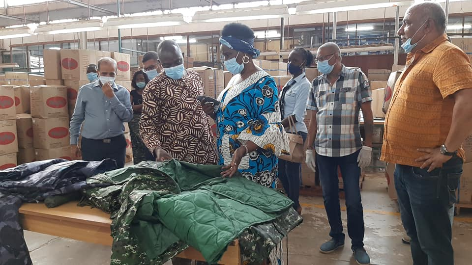 Hon. Minister Amelia Kyambadde tours Nytil Factory to check on the progress of mask manufacture