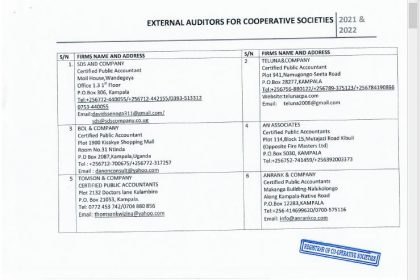REGISTRAR OF COOPERATIVES RELEASES LIST ON NEW AUDITORS 2021/2022